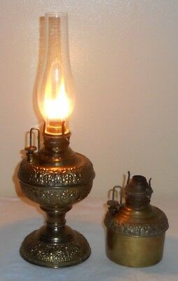 "Lot 2 Miller Embossed Miniature Center Draft Lamps Stand 4"" Pot - Hold Oil Work!"