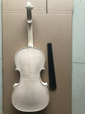 4/4 size unfinished white violin spruce top flamed maple back all handcarved