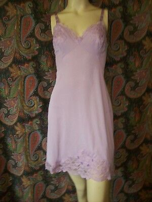 Vintage Purple Silky Nylon Tricot Lacy Empire Mini Slip Lingerie 36