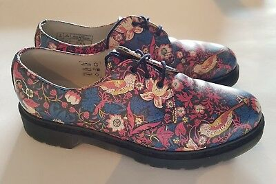 Dr Martens Liberty Strawberry Thief Navy + Cherry Red Leather UK 8, EU 42, US 10