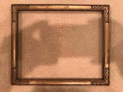 Small Antique 1930s Gold 8x6 Picture Frame Arts Crafts Style C