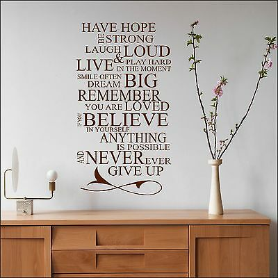 Large Quote Wall Sticker Dream Big Anything Is Possible Be Strong In Matt Vinyl