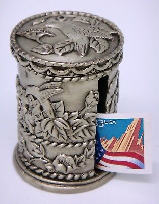 Ornate Vintage Heavy Pewter Stamp Roll Holder-Hummingbird Design-Removable Top
