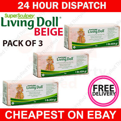 BEIGE colour Super Sculpey LIVING DOLL Polymer Clay 454g 1lb - FREE DELIVERY