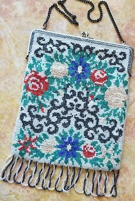 Beautiful Vintage Antique Art Deco era Floral Beaded Fringed Bag Purse Germany