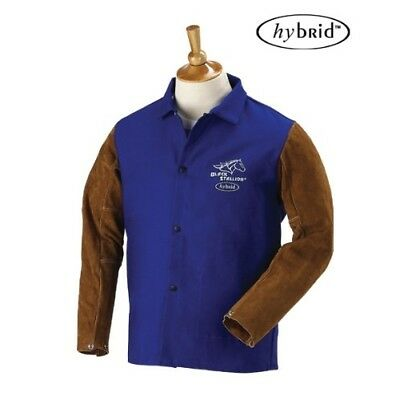 "BLACK STALLION Hybrid 9 oz. FR and Cowhide Welding Coat - 30"" Royal Blue/Br"