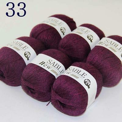 Sale 6 Skeins Super Pure Sable Cashmere Scarves Hand Knit Wool Crochet Yarn 33