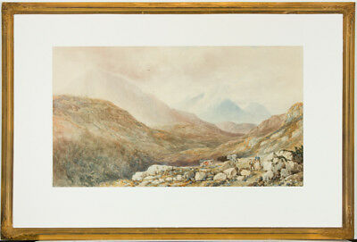 Large English School 19th Century Watercolour - Figures in Highland Landscape