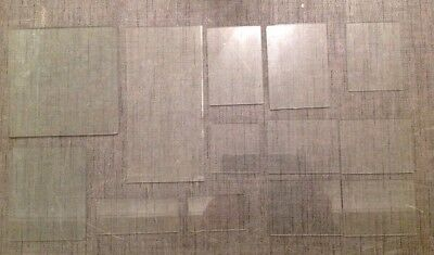 Clock Glass Square And Rectangle Flat Collection Of 13 Clockmakers Spare Parts