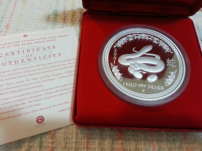 2001 lunar series 1 year of the snake 1kg proof silver coin Perth mint