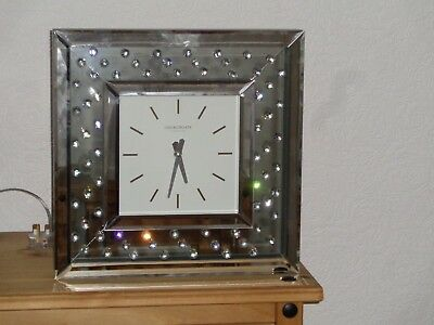 Floating Crystal Large Silver Mirrored Square Wall Clock