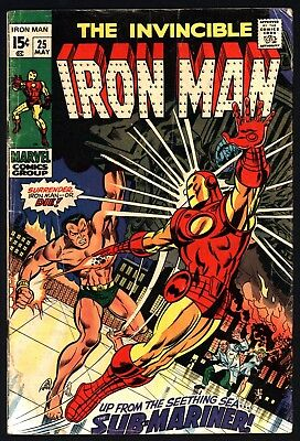 Iron Man #25 May 1970. Jonny Craig Art, Great Value, Lovely White Pages!