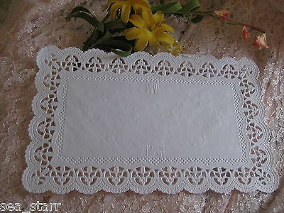 """20 pcs 9.5"""" X 6""""  INCH DELICATE WHITE PAPER LACE RECTANGLE DOILY GERMANY retired"""