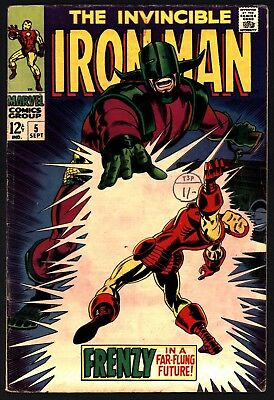Iron Man #5 Sept 1968. Versus Krylla. Ultra Glossy Cover! Lovely White Pages