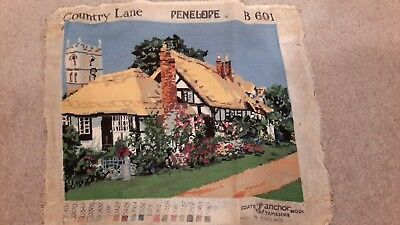 """Vintage Completed Wool Tapestry """"County try Lane"""" by Penelope"""
