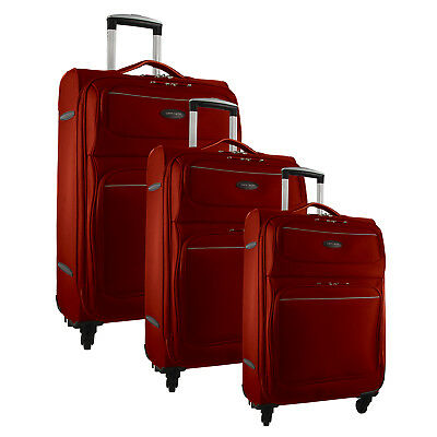 Pierre Cardin Soft Luggage Case Red Blue Black - SET OF 3 PC2646