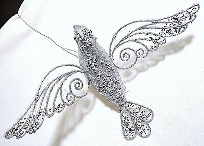 """8"""" Large Glitter Silver Bird Dove Hanging Clip-On Christmas Decoration Ornament"""