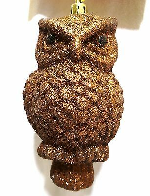 """5"""" Brown Glitter Owl Christmas Decoration Hanging Tree Ornament Baubles New"""