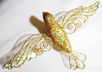 """8"""" Large Glitter Gold Bird Dove Hanging Clip-On Christmas Decoration Ornament"""