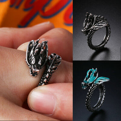 In The Dark Male Gift Opening Dragon Ring Ancient Silver Luminous Adjustable~