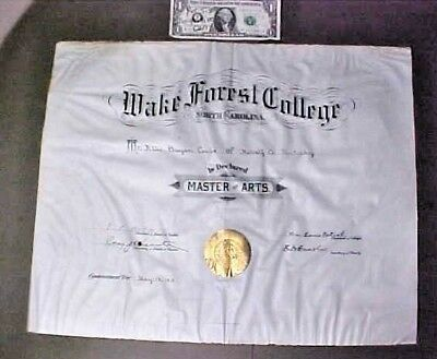 1911 Wake Forest College Diploma signed by William Louis Poteat & F.P. Hobgood
