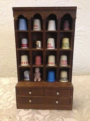 Vintage Thimble LOT of 15 Mixed Metals,wood,plastic,on mini wall hanging cabinet