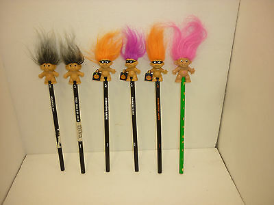 Vintage Lot of Troll Pencil Topppers Trolls NOW Never Used Halloween 6 PCS 90's