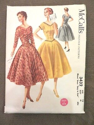 Vintage McCall's Women's Dress Easy to Sew Pattern 1950s Size 12  # 3432