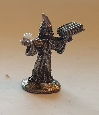 Pewter Miniature Wizard spell casting with Crystal Ball and spell book 1996