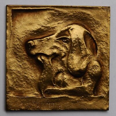 "Medaille medal Laurence De Craene ""Canis Cogitans"" Thinking dog Belgium Mauquoy"