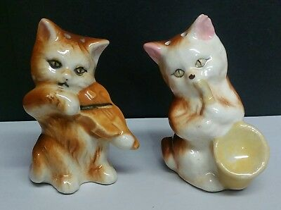 VINTAGE 1950's INSTRUMENT PLAYING CATS SALT AND PEPPER SHAKERS.  JAPAN