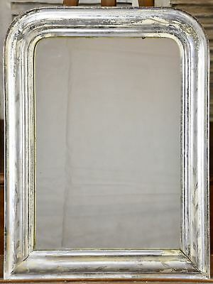 Antique French Louis Philippe mirror with silver frame