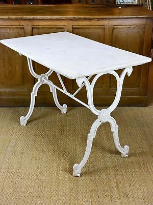 Antique French garden table with marble top