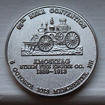 2003 Amoskeag Steam Fire Engine Medal Manchester NH Nickel Coated Bronze