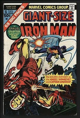 GIANT SIZE IRON MAN #1  CLASSIC 1st HAWKEYE + BATTLE WITH ANGEL GLOSSY  WHITE PG