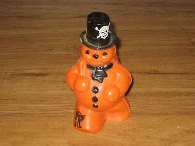 Vintage Pumpkin Snowman Candy Container-Black Cat On Leg,Skull On Hat