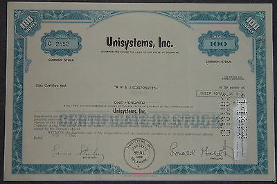 USA: Unisystems, Inc. 1972 100 shares