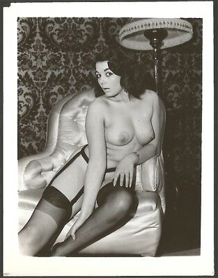 1950s Camera Club Era Sultry Brunette Garter Belt Amateur Nude Pin-Up Photograph