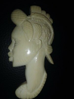 Vintage African Ivory Color Pendant Bone Carved Tribal Woman Face Portrait 3.25