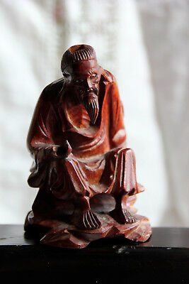 Antique/early Vintage Chinese Carved Rosewood/hardwood Seated Old Man /immortal