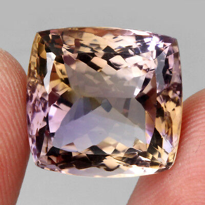 23.49ct. 17x14mm. Antique Cut 100%natural Top Bi Colors Purple Yellow Ametrine