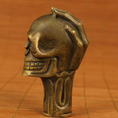 Rare cool gift chinese old bronze hand carving skull cane walking stick head