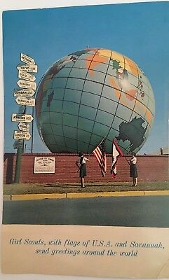 Vintage Postcard Girl Scouts With Flags Of USA And Savannah, GS Send Greetings