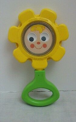 Fisher Price Flower Rattle #424 Smiley Googly Eyes Face Mirror 1973 Vintage