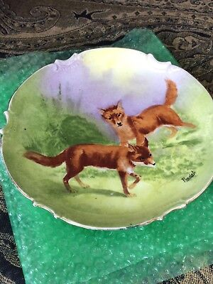 "Limoges vintage coronet 10"" fox plate hand painted signed by Pradet"