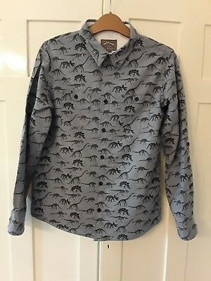 FAT FACE Boys 12 - 13 Years Denim Dinosaur Shirt Excellent Condition