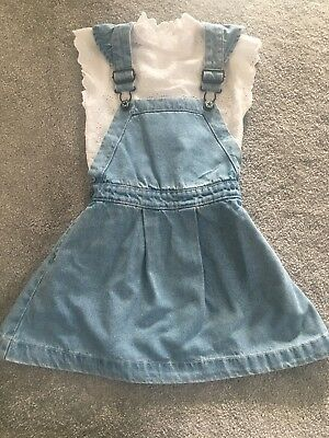 Girls Next 2 Peice Denim Dress And Shirt Age 4-5 Years
