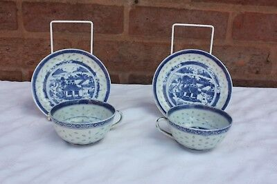 Pair of  Early 20th Century Chinese Blue and White Cup and Saucers