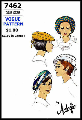 Pattern HAT CAP BERET Fabric Sewing VOGUE # 7462 Vint Millinery Designer ADOLFO