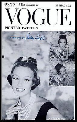 Designer Sally Victor Vintage 50s VOGUE Millinery HAT Fabric Pattern Sewing 9327